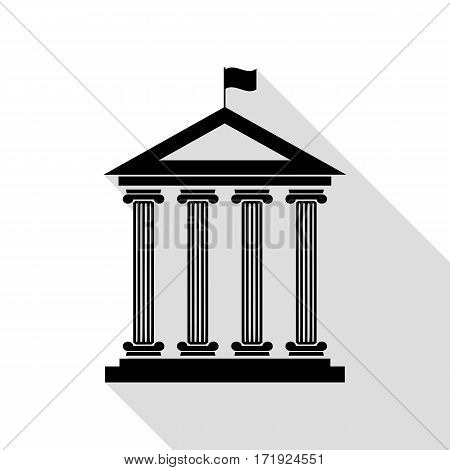Historical building with flag. Black icon with flat style shadow path.