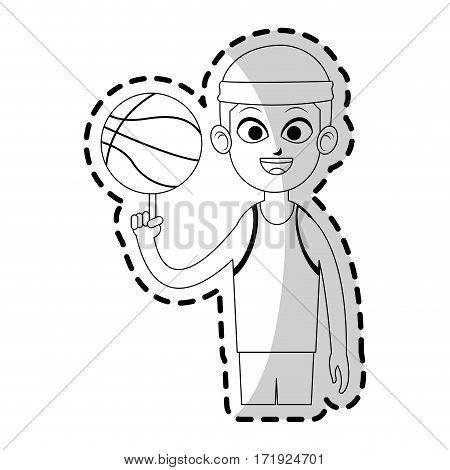 boy with basketball sport equipment over white background. vector illustration