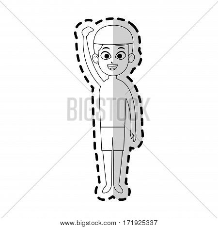 boy with swimming sport equipment over white background. vector illustration