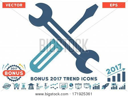 Cyan And Blue Spanner And Screwdriver pictograph with bonus 2017 trend clip art. Vector illustration style is flat iconic bicolor symbols white background.