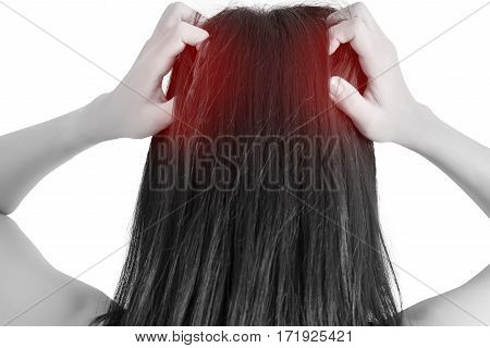 Scratching Her Head In A Woman Isolated On White Background. Clipping Path On White Background.