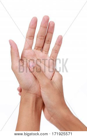 Trigger finger.Woman painful finger due to prolonged use of keyboard and mouse on white background