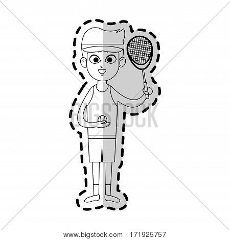 boy with tennis sport equipment over white background. vector illustration