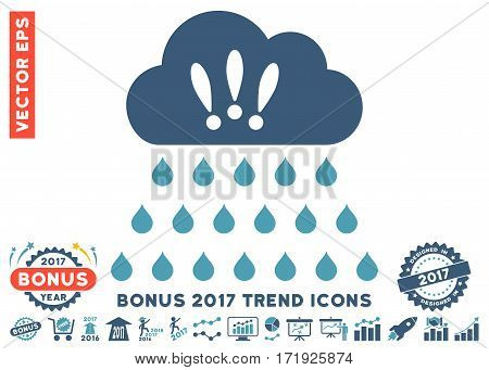 Cyan And Blue Thunderstorm Rain Cloud icon with bonus 2017 year trend pictograph collection. Vector illustration style is flat iconic bicolor symbols white background.