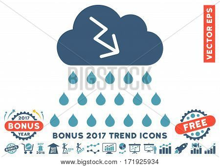Cyan And Blue Thunderstorm Rain Cloud icon with bonus 2017 trend clip art. Vector illustration style is flat iconic bicolor symbols white background.