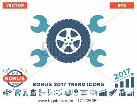 Cyan And Blue Tire Service Wrenches pictograph with bonus 2017 year trend pictograph collection. Vector illustration style is flat iconic bicolor symbols white background.