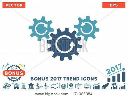 Cyan And Blue Transmission Wheels Rotation icon with bonus 2017 year trend clip art. Vector illustration style is flat iconic bicolor symbols white background.