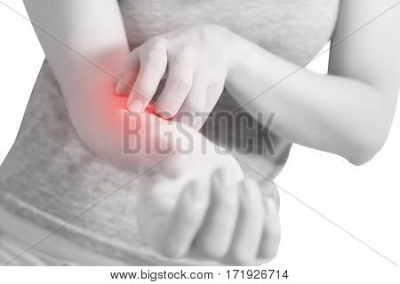 Scratching Her Arm In A Woman Isolated On White Background. Clipping Path On White Background.