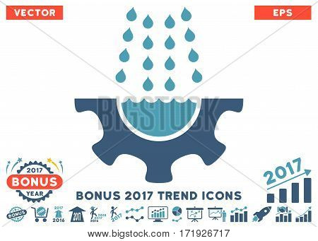 Cyan And Blue Water Shower Service Gear pictogram with bonus 2017 year trend elements. Vector illustration style is flat iconic bicolor symbols white background.