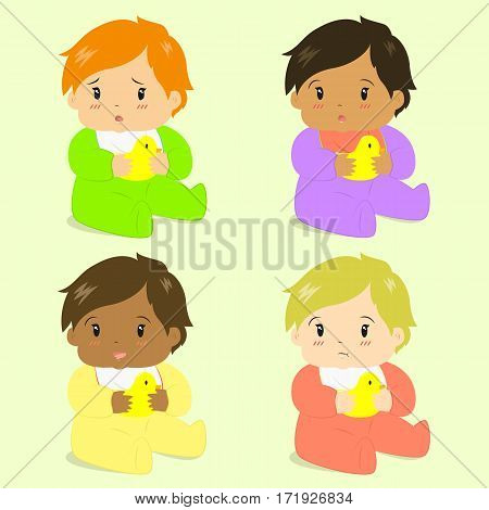 illustration of cute baby girls sitting and holding rubber duck, in different skin colors and face expressions