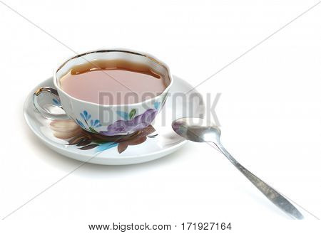 teacup with tea isolated on white background