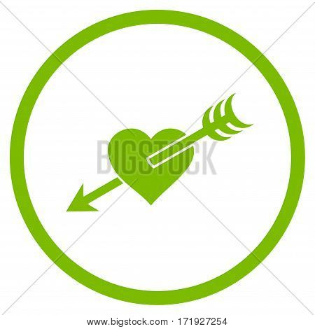 Arrow Heart rounded icon. Vector illustration style is flat iconic symbol inside circle eco green color white background.