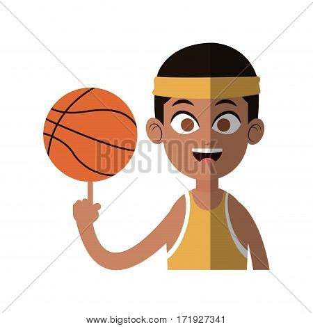 boy with basketball equipment over white background. colorful design. vector illustration
