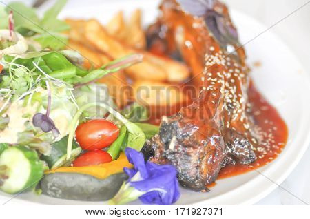 pork rib barbecue or spare rib steak with vegetable
