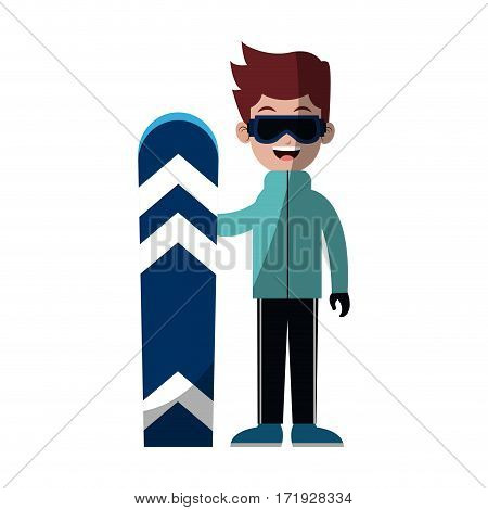 boy with snowboard sport equipment over white background. colorful design. vector illustration