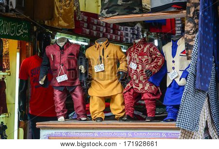 Selling Clothes At The Store In Delhi, India