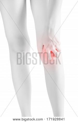 Acute Pain In A Woman Knee Isolated On White Background. Clipping Path On White Background.