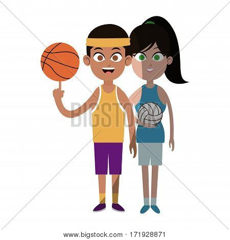 happy couple ready to practice basketball sport over white background. colorful desing. vector illustration