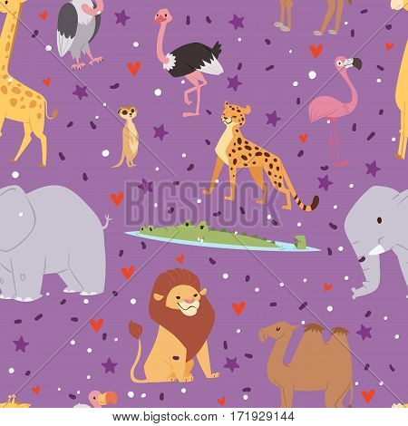 Africa animals outdoor graphic travel seamless pattern background isolated wild