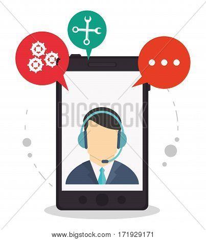 smartphone call center assistance talking vector illustration eps 10
