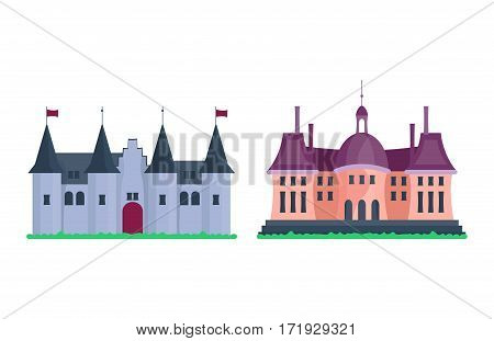 Cartoon fairy tale castle tower icon. Cute architecture vector illustration fantasy house fairytale medieval. Princess stronghold design fable isolated.