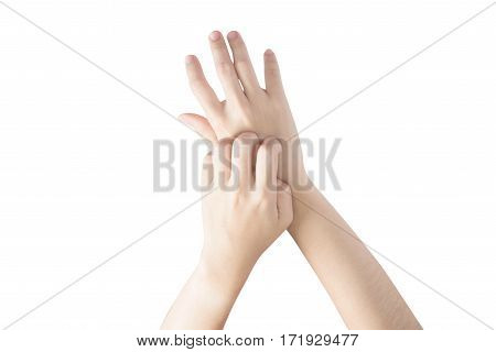 Scratching Her Hand In A Woman Isolated On White Background. Clipping Path On White Background.