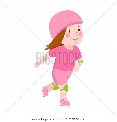 Roller beautiful girl funny sports character skating outdoor summer children hobby and cute young female in pink skates, hat happy leisure skater vector. Active healthy lifestyle.