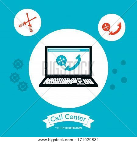 call center computer technology online vector illustration eps 10