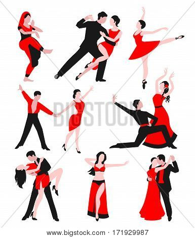 Couples dancing latin american romantic person and people dance man with woman ballroom entertainment together tango pose beauty vector illustration. Fashion partner attractive male.