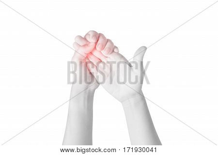 Acute Pain In A Woman Finger Isolated On White Background. Clipping Path On White Background.