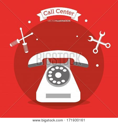 call center telephone contacts tools vector illustration eps 10