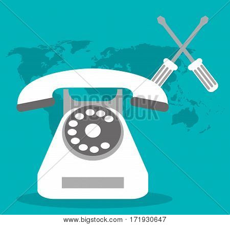 call center telephone world support vector illustration eps 10