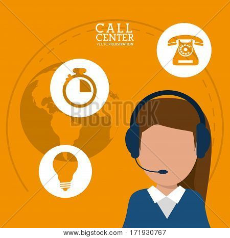 character call center headset support worldwide vector illustration eps 10