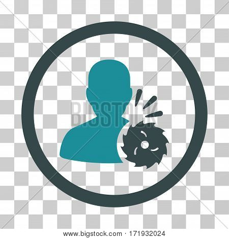 Body Execution vector pictograph. Illustration style is a flat iconic bicolor soft blue symbol on a transparent background.