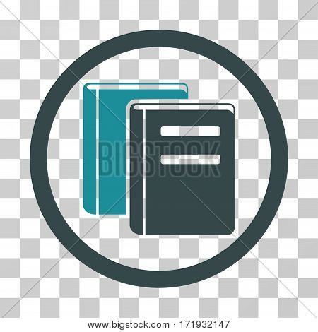 Books vector pictograph. Illustration style is a flat iconic bicolor soft blue symbol on a transparent background.