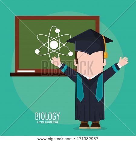 graduate student biology board class vector illustration eps 10