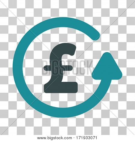 Chargeback Pound vector icon. Illustration style is a flat iconic bicolor soft blue symbol on a transparent background.