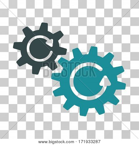 Cogs Rotation vector pictograph. Illustration style is a flat iconic bicolor soft blue symbol on a transparent background.