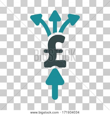 Divide Pound Payments vector icon. Illustration style is a flat iconic bicolor soft blue symbol on a transparent background.