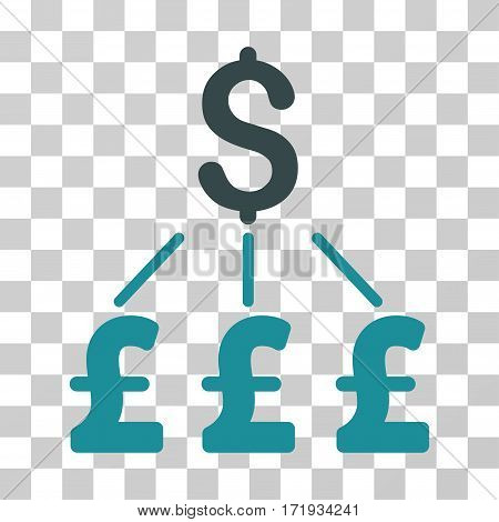 Dollar Pound Links Pound vector icon. Illustration style is a flat iconic bicolor soft blue symbol on a transparent background.