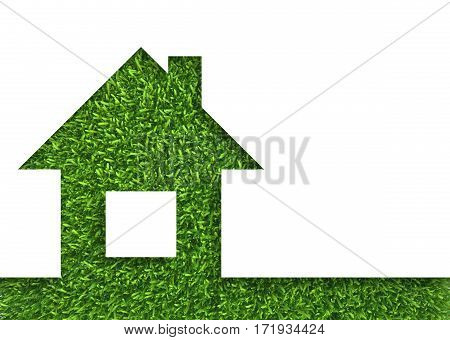 Eco house concept green grass. white background.