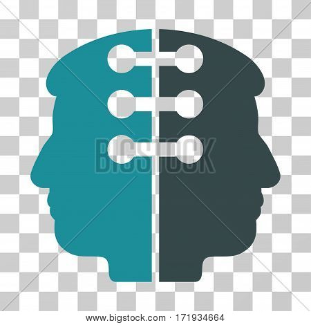 Dual Head Interface vector pictogram. Illustration style is a flat iconic bicolor soft blue symbol on a transparent background.