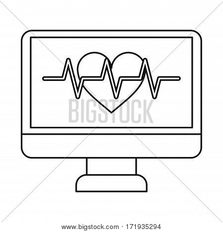 monitor heartbeat cardiology rhythm thin line vector illustration eps 10