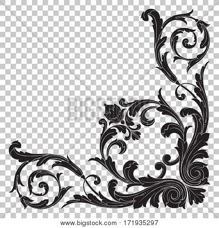Isolated vintage baroque ornament retro pattern antique style acanthus. Decorative design element filigree calligraphy vector.