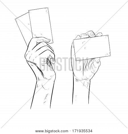 Drawn hand holding cards. Sketch of hand with coupons. Retro set of sketches isolated. Vintage style. Doodle linear graphic design. Black and white image. Vector illustration.