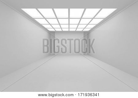 Interior architecture white room with walls and ceiling from window. 3d rendering.