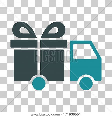 Gift Delivery Van vector icon. Illustration style is a flat iconic bicolor soft blue symbol on a transparent background.