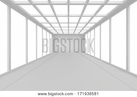 Abstract architecture white room interior with walls and ceiling from window. 3d rendering