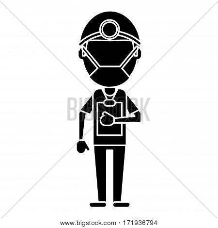 doctor professional surgery mask hat clipboard pictogram vector illustration eps 10