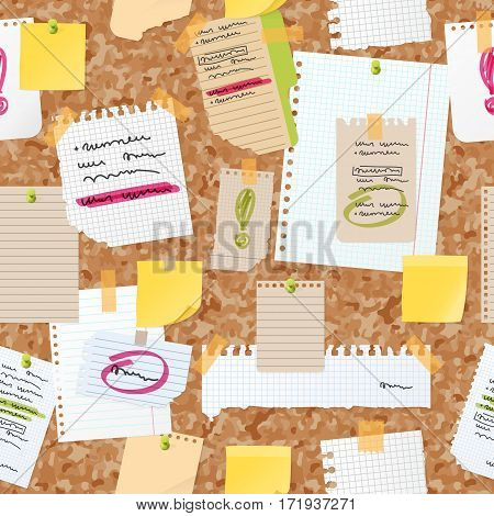 Sticker notes pinned on board vector seamless pattern. isolated